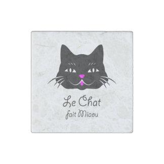 ¡El gato dice maullido!  Dibujo animado francés Imán De Piedra