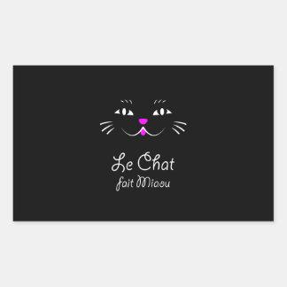 ¡El gato dice maullido!  Gato francés divertido Pegatina Rectangular
