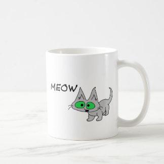 El gato dice maullido taza