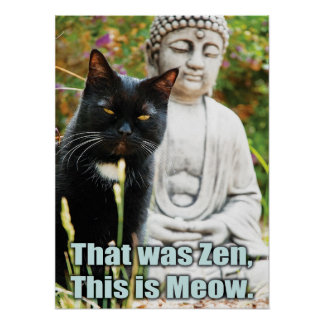 El gato divertido - que era zen, esto es maullido póster