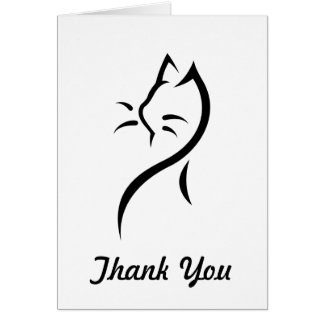 El gato elegante le agradece observar tarjeta pequeña