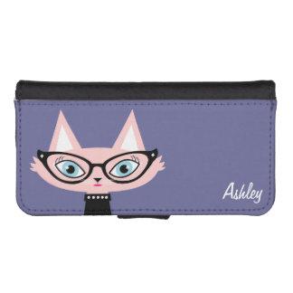 El gato elegante personalizó la caja de la cartera billetera para iPhone 5