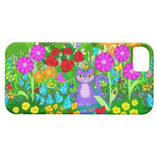 El gato en arte colorido del jardín florece iPhone 5 carcasa