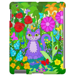 El gato en fantasía de las mariposas del jardín fl