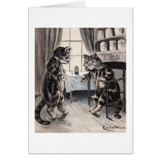 El gato enfermo del vintage consigue la tarjeta bi