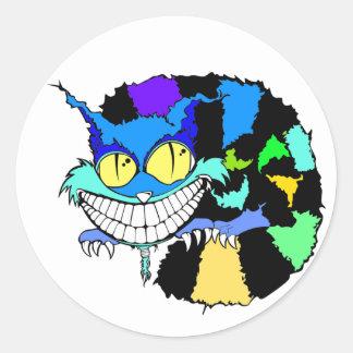 El gato enojado de Cheshire Pegatina Redonda