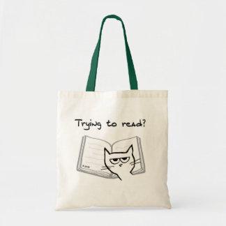 El gato enojado desafía a aficionados a los libros bolsa tela barata