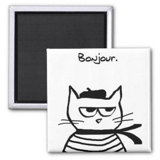 El gato enojado es tan muy francés imán cuadrado