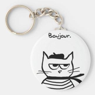 El gato enojado es tan muy francés llavero redondo tipo pin