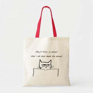 El gato enojado exige salmones bolsa tela barata