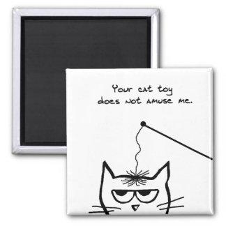 El gato enojado no es divertido por su juguete del imán cuadrado