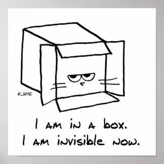 El gato enojado oculta en una caja póster