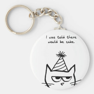 El gato enojado odia cumpleaños llavero redondo tipo pin