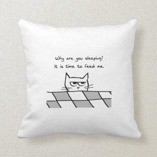 El gato enojado quiere ser FED Almohadas