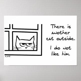 El gato enojado ve otro gato póster