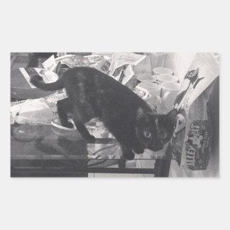 El gato es culpable cogido pegatina rectangular
