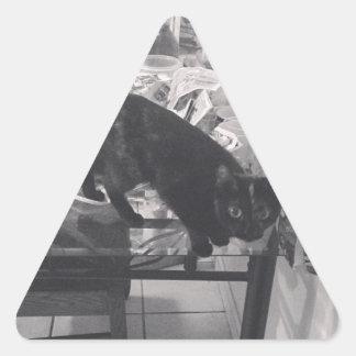 El gato es culpable cogido pegatina triangular