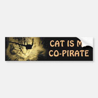 El gato es mi Co-Pirata Pegatina Para Auto