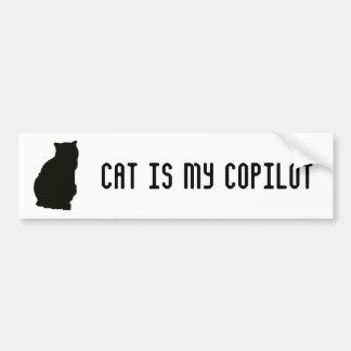 El gato es mi copiloto pegatina para auto