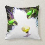 El gato estilizado w/Flower apoya la foto del arte Cojines