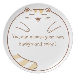 ¡El gato feliz, lindo, y gordo quiere comer! Plato De Cena