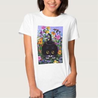 El gato floral del smoking del negro del arte camisas
