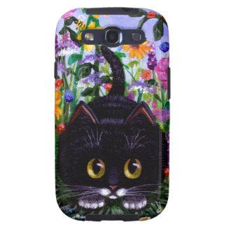 El gato floral del smoking del negro del arte flor samsung galaxy SIII funda