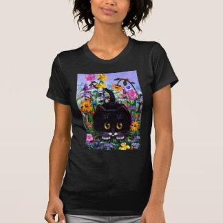 El gato floral del smoking del negro del arte flor camiseta