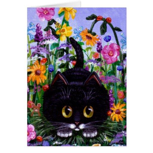 El gato floral del smoking del negro del arte flor felicitacion