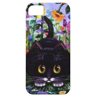 El gato floral del smoking del negro del arte iPhone 5 carcasas