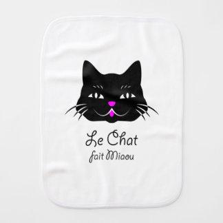 ¡El gato francés lindo dice maullido! Paños Para Bebé