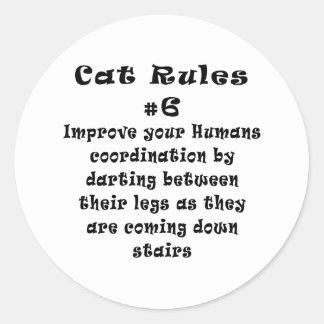 El gato gobierna el número 6 pegatinas redondas