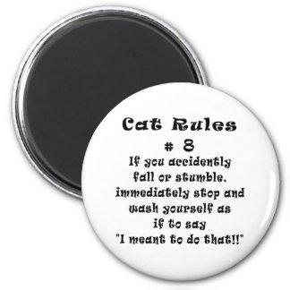 El gato gobierna el número 8 imán de nevera