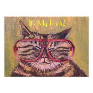 El gato gordo con el fiesta de los vidrios invita invitacion personal