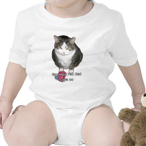 El gato gordo gruñón dice no trajes de bebé