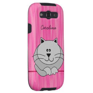 El gato gordo lindo en rosa personalizó la cubiert galaxy SIII protectores