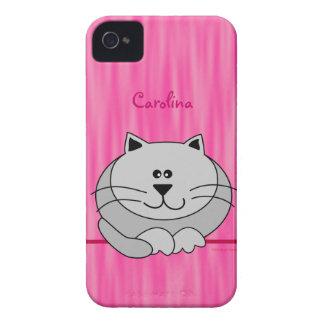 El gato gordo lindo en rosa personalizó la Case-Mate iPhone 4 fundas