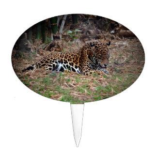 el gato grande del jaguar que lame las patas refre decoración para tarta