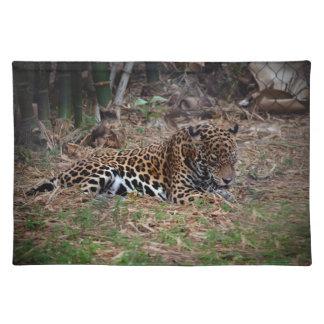 el gato grande del jaguar que lame las patas refre manteles individuales