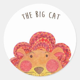 El gato grande pegatina redonda