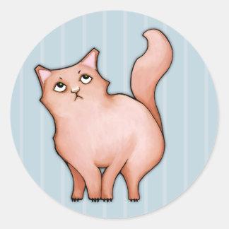 El gato gruñón Sue malhumorada raya alrededor del Pegatina Redonda