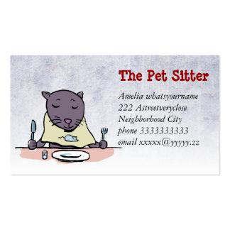 el gato hambriento (sentada del mascota) tarjetas de visita