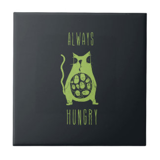 El gato hambriento tiene hambre azulejo cuadrado pequeño