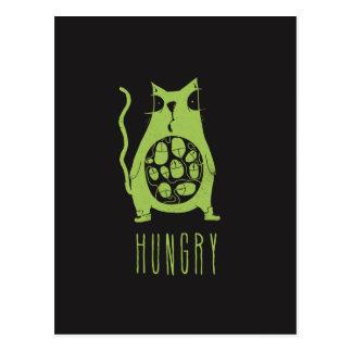 El gato hambriento tiene hambre postales