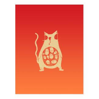 El gato hambriento tiene hambre tarjeta postal