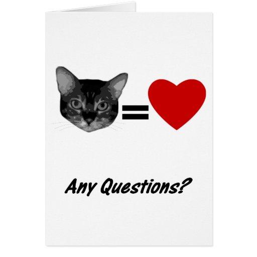El gato iguala amor tarjeta de felicitación