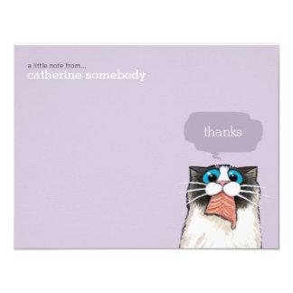 """El gato lindo de Birman que come salmones le Invitación 4.25"""" X 5.5"""""""
