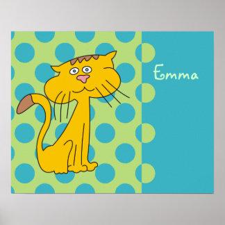 El gato lindo del dibujo animado personalizado póster