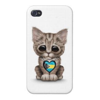 El gato lindo del gatito con Bahamas señala el cor iPhone 4/4S Funda