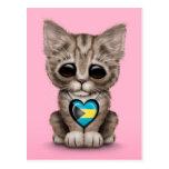 El gato lindo del gatito con Bahamas señala el cor Tarjeta Postal